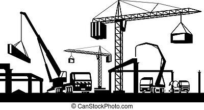 industriel, construction, scène