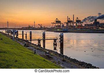 industriel, coucher soleil, scène, paysage