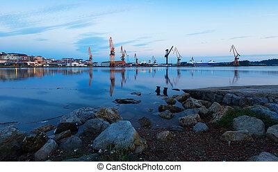 industriel, crépuscule, santander, port., vue