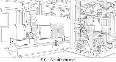 industriel, equipment., wire-frame, render, 3d