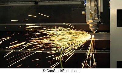 industriel, factory., laser, automatique, ironwork, métal, découpage