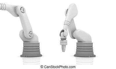 industriel, faux, bras, robotique