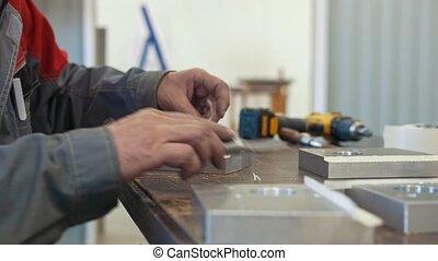 industriel, fonctionnement, objet, métal, cnc, homme, outillage industriel