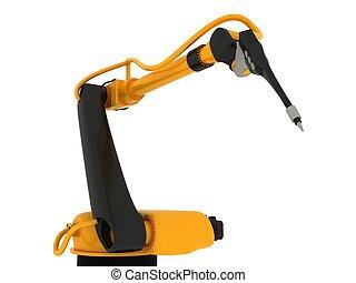 industriel, isolé, bras robotique
