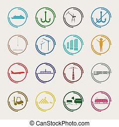 industriel, logistique, icônes, couleur