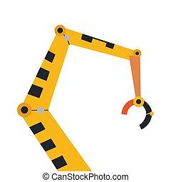 industriel, mécanique, robot, jaune, arm., vecteur, robotique, icon., bras