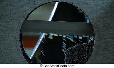 industriel, métal, détail, usinage, découpage, vide