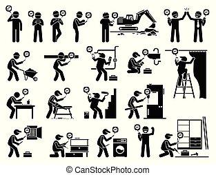 industriel, mobile, app, ouvrier, construction, utilisation, smartphone.