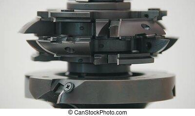 industriel, moudre, métal, -, machine, découpage, tourné, coupeur