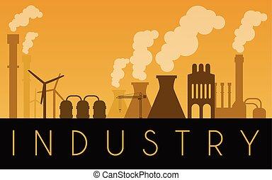 industriel, paysage, bâtiments, vecteur, usine