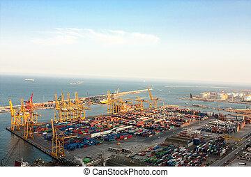 industriel, port, barcelone