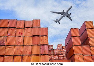 industriel, port, récipients