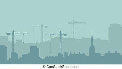 industriel, résumé, silhouette., panoramique, vecteur, illustratuion, skyline., construction, paysage
