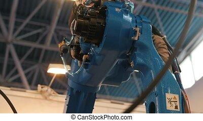 industriel, robotique, mécanique, -, machine, bras automatisé, soudure