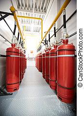 industriel, salle, réservoirs, air