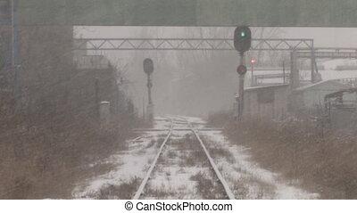 industriel, shots., train, 2, tracks.
