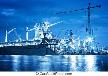 industriel, travail, chantier naval, freight., bateau, réparation