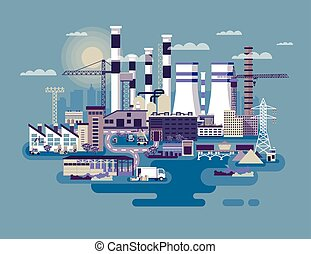 industriel, usines, zone