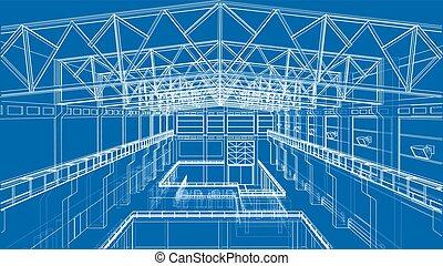 industriel, vecteur, sketch., zone