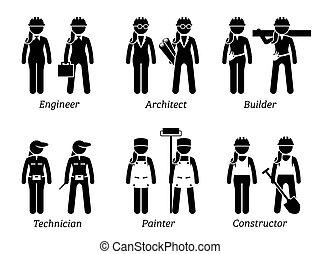 industriel, women., métiers, travaux, travaux, constructions