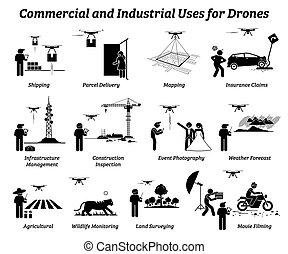 industriel, work., usage, commercial, bourdon, applications
