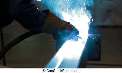 industry., industriel, travail, métal, soudeur, vue