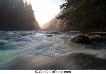 inférieur, lewis, chutes, coucher soleil, pendant, rivière