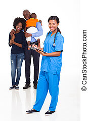 infirmière, américain, femme, famille, africaine