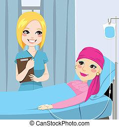 infirmière, femme, visite, personne agee