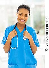 infirmière, jeune, africain femelle