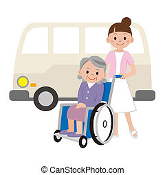 infirmière, jeune, femmes âgées