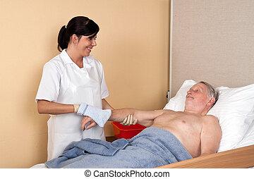 infirmière, lave, patient