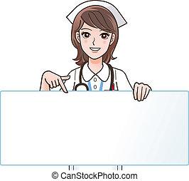 infirmière, sourire, mignon, pointage