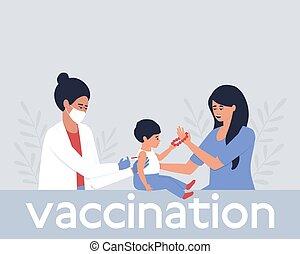 infirmière, vaccin, enfant, donne, gros plan, présence, mère
