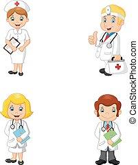 infirmières, dessin animé, médecins