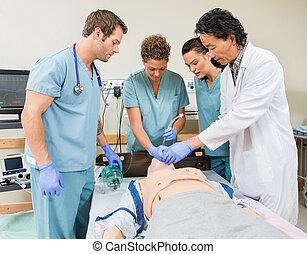 infirmières, hôpital, instruire, salle, docteur