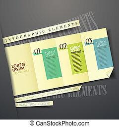 infographic, éléments, jaune, étiquette, papier, 3d