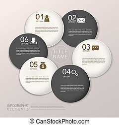 infographic, éléments, résumé, moderne, papier, cercle