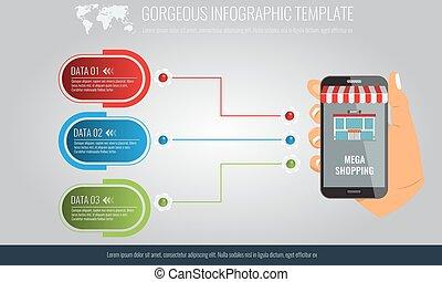 infographic, éléments, smartphone., tenant main