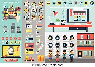 infographic, achats, éléments, ligne
