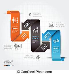infographic., affaires modernes, flèche