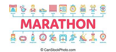 infographic, bannière, marathon, vecteur, minimal