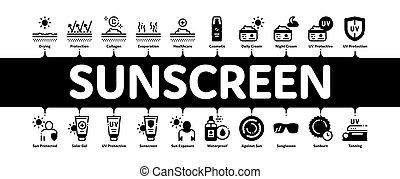 infographic, bannière, sunscreen, vecteur, minimal