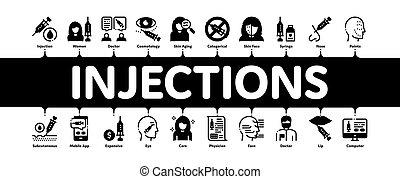 infographic, bannière, vecteur, injections, minimal