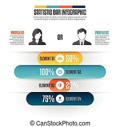 infographic, barre, statistique