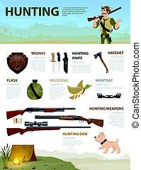 infographic, concept, coloré, chasse