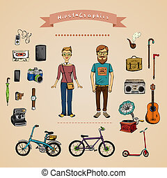 infographic, concept, hipster