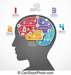 infographic, concept, illustration, cerveau, vecteur, lien, gabarit, social, ligne