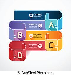 infographic, concept, puzzle, illustration, vecteur, gabarit, bannière
