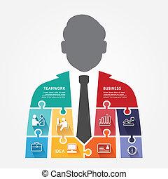 infographic, concept, puzzle, illustration, vecteur, gabarit, homme affaires, bannière